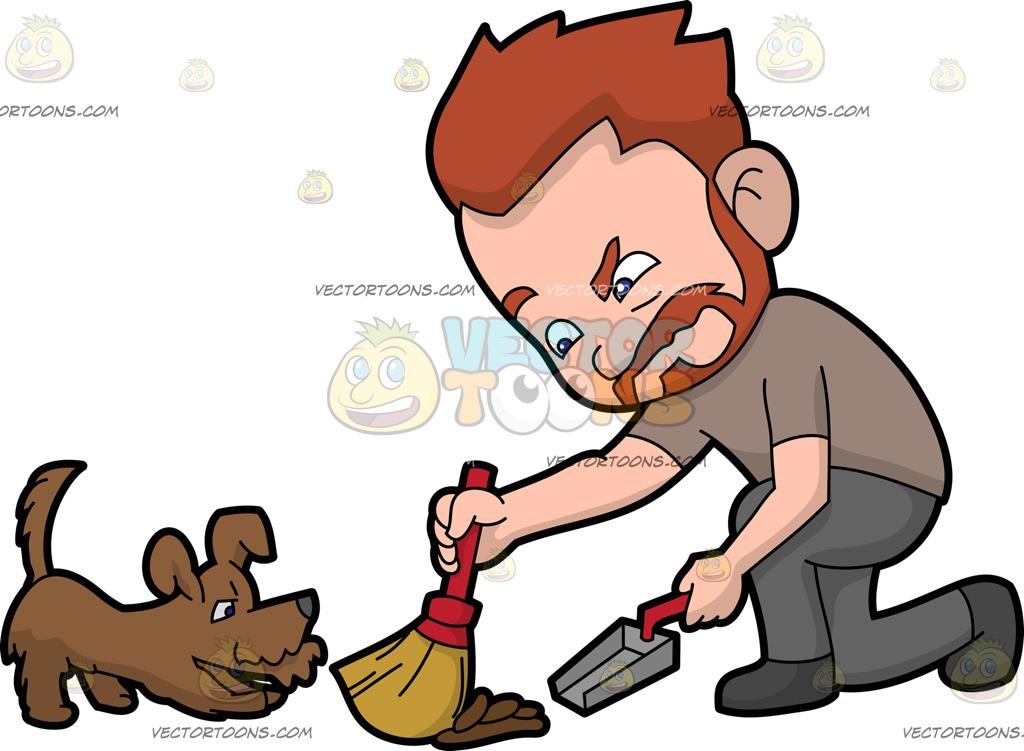1024x751 An Irritated Man Sweeping Dog Poop Off The Floor Cartoon Clipart
