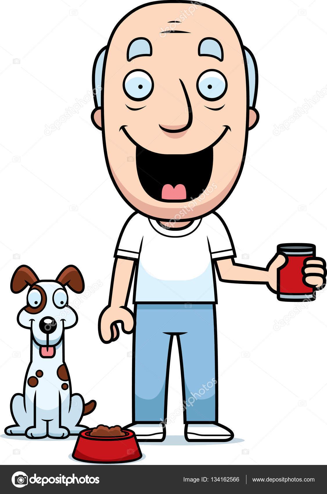 1126x1700 Cartoon Man Feeding Dog Stock Vector Cthoman