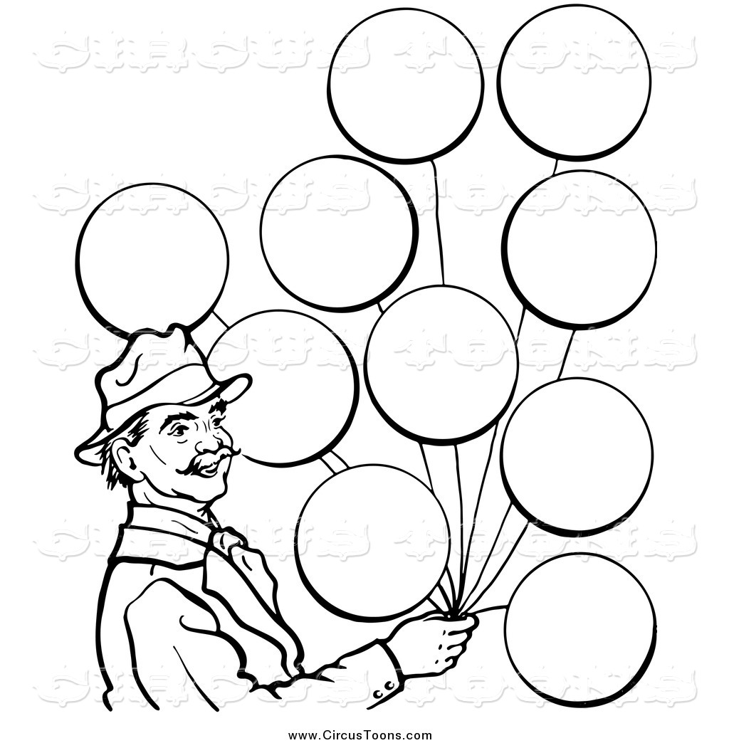 1024x1044 Circus Clipart Of A Black White Man With Balloons In Black