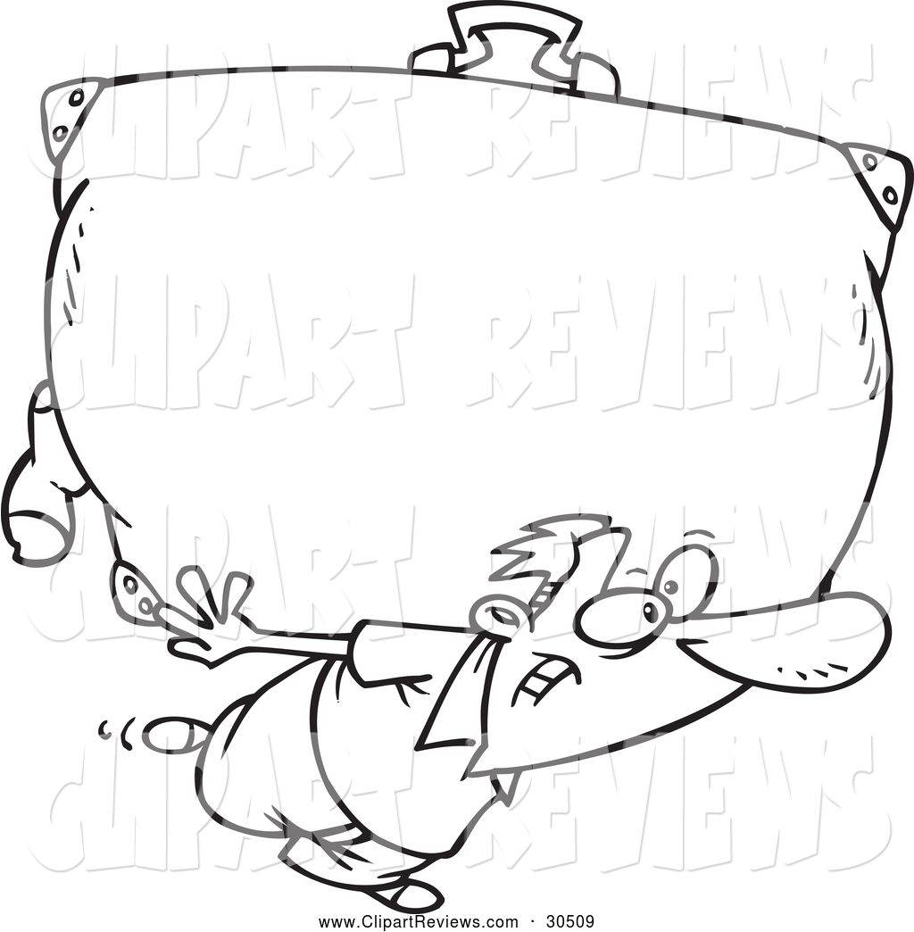 1024x1044 Clip Art Of A Black And White Man Carrying A Big Suitcase By