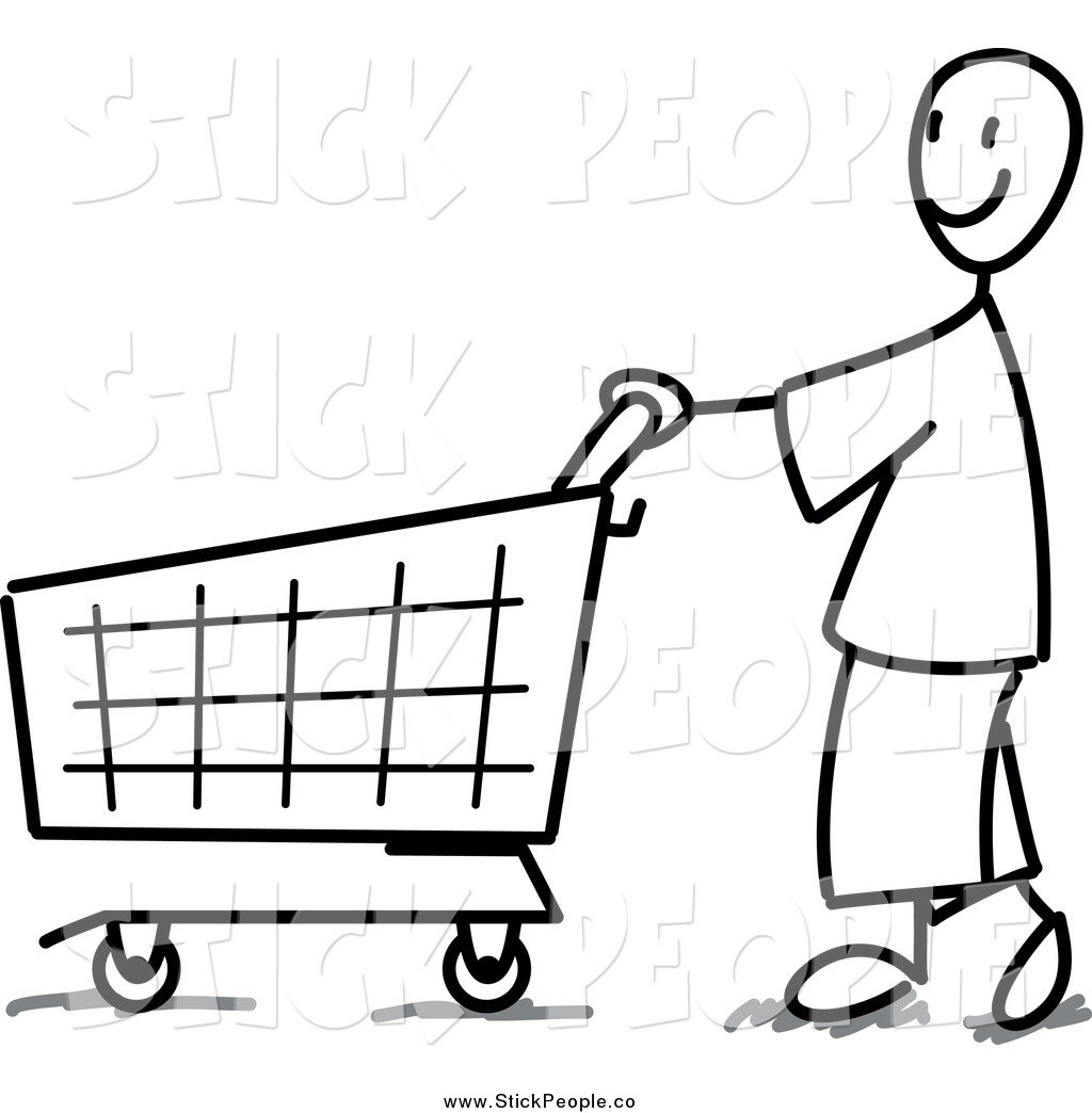 1024x1044 Vector Graphic Of A Black And White Stick Man Shopping By Frog974