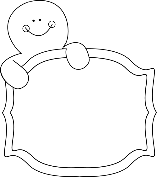 500x565 Black And White Gingerbread Man Sign Clip Art