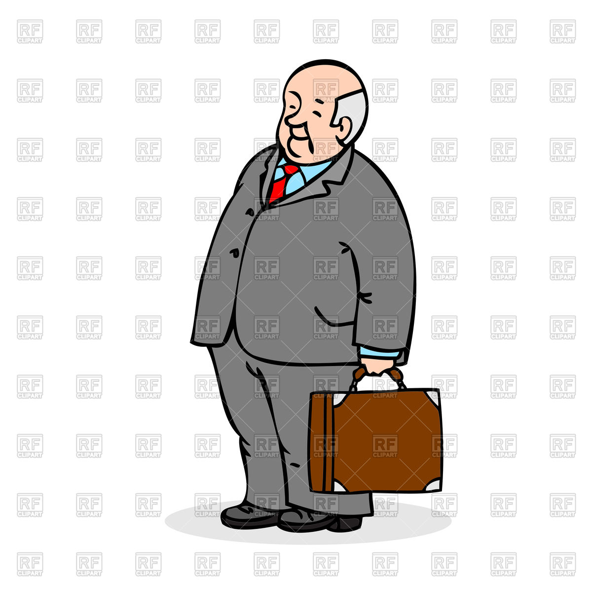 1200x1200 Old Man With A Suitcase Wearing A Suit And A Tie Royalty Free