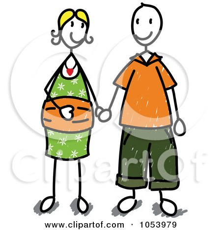 450x470 Royalty Free Vector Clip Art Illustration Of A Stick Man And Woman