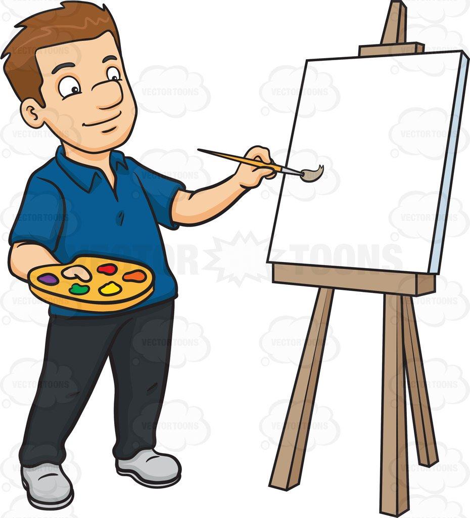 930x1024 A Man Painting On A Blank Canvas Cartoon Clipart