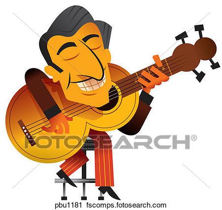 450x427 Clipart Of A Man Playing A Guitar Pbu1181