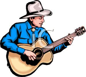 300x270 Country Music Star Playing Guitar Clip Art Image