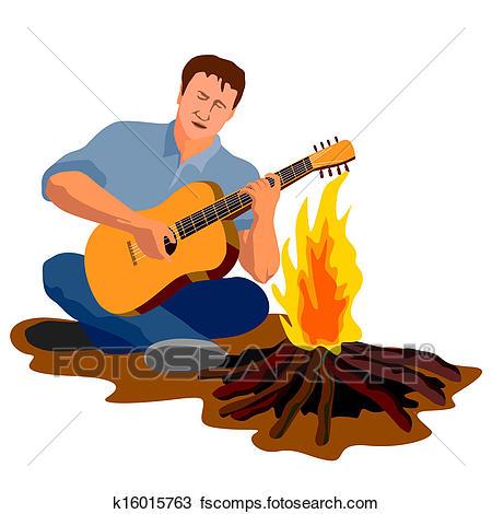 450x470 Drawing Of Man Camping Playing Guitar K16015763