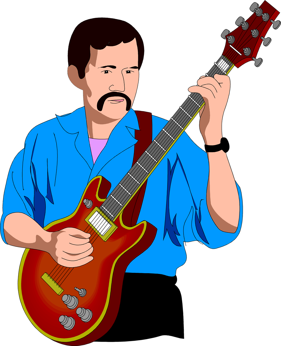 958x1178 Free Playing Guitar Clipart Image