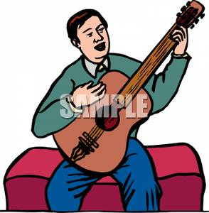 294x300 Man Sitting On A Bench Playing A Guitar