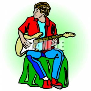 299x300 Man Sitting And Playing Guitar Clipart Picture