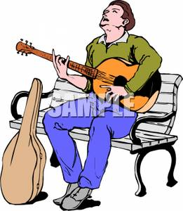 261x300 Man Sitting On A Park Bench Playing Guitar