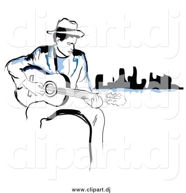 600x620 Vector Clipart Of Blacknd Blue Man Playing Guitar Near