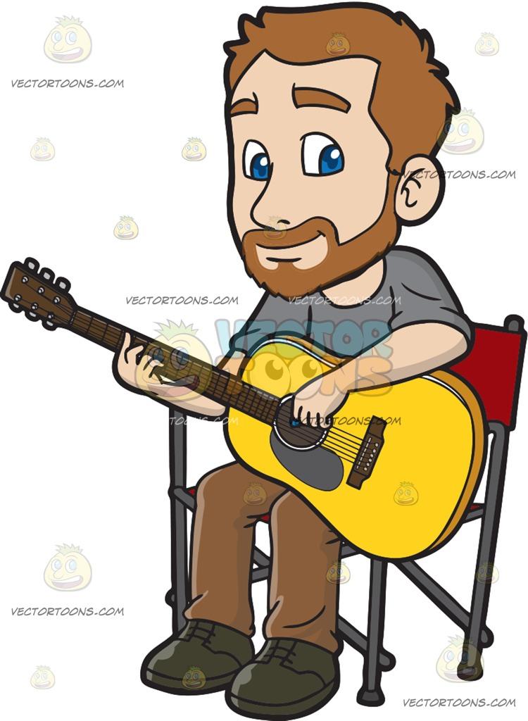 750x1024 A Man Playing An Acoustic Guitar Cartoon Clipart
