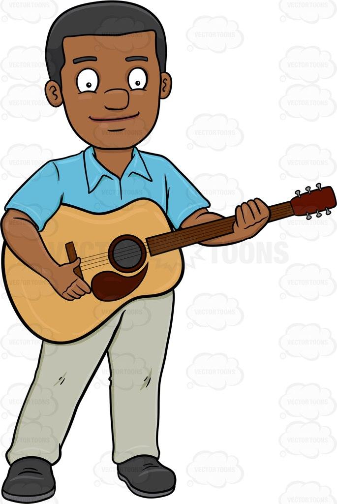 685x1024 A Smiling Black Man Playing A Classic Guitar Cartoon Clipart