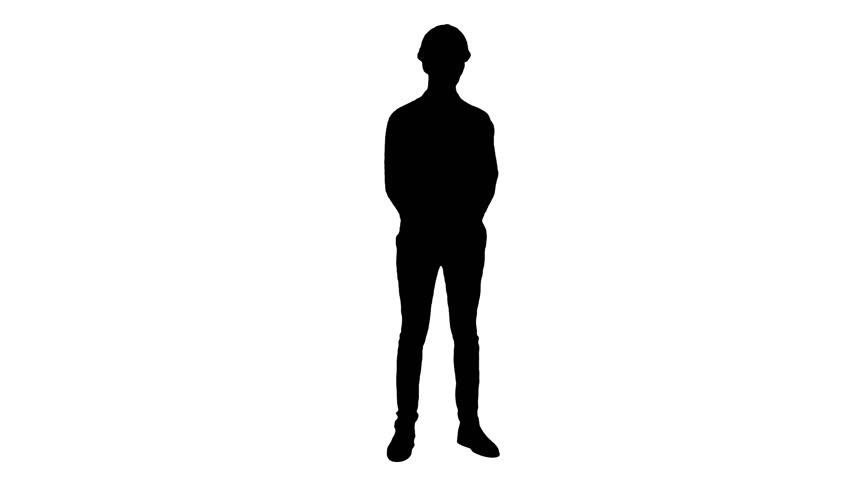 852x480 Umbrella Opening Silhouette Standing Man