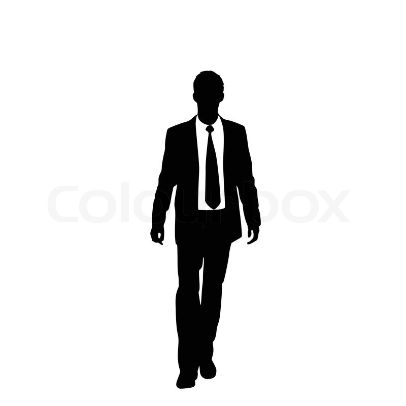 800x800 Vector Business Man Black Silhouette Standing Full Length Over