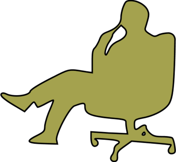 600x553 Man In Chair Thinking Clipart
