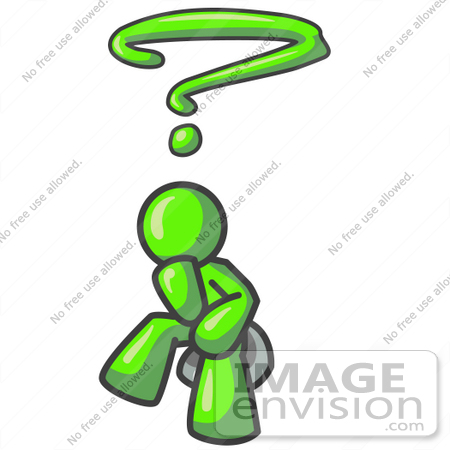 450x450 Clip Art Graphic Of A Lime Green Guy Character Thinking