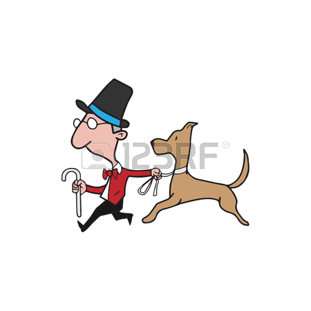 450x450 Cartoon Funny Woman Walking With Dog Royalty Free Cliparts