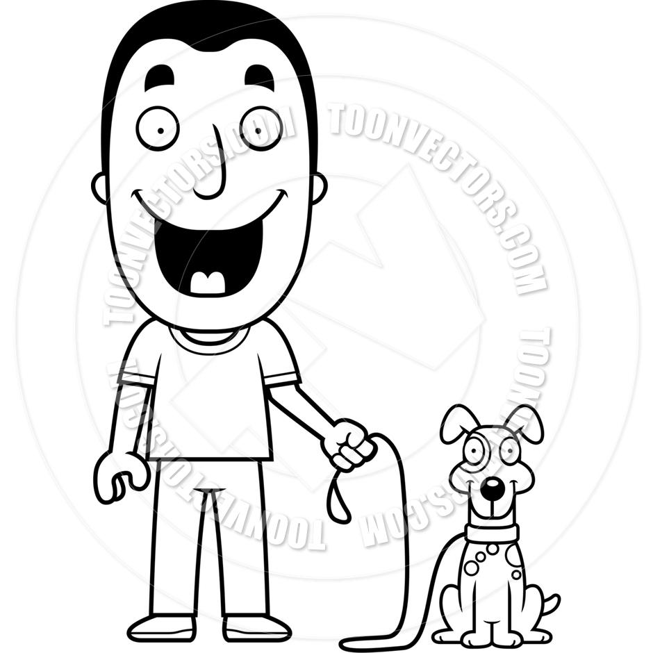 940x940 Cartoon Man Walking Dog (Black And White Line Art) By Cory Thoman