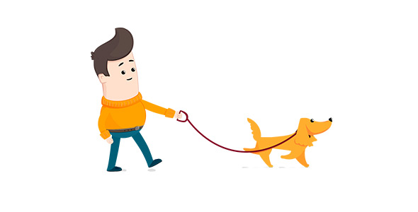 590x300 Cartoon Man And Dog Walks By Letkevich Videohive