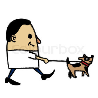 320x320 Cartoon Illustration Of Man Walking His Heart With Leash Like