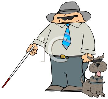350x323 Cartoon Of A Blind Man With A Blind Dog