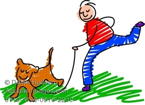 300x218 Clipart Image Of A Happy Man Walking The Dog