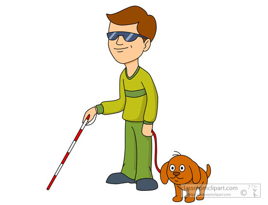 550x422 Health Clipart Blind Man Using Cane With His Dog