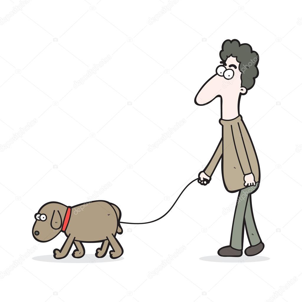 1024x1024 Cartoon Curly Hair Man Walking A Dog Stock Vector Maneeh