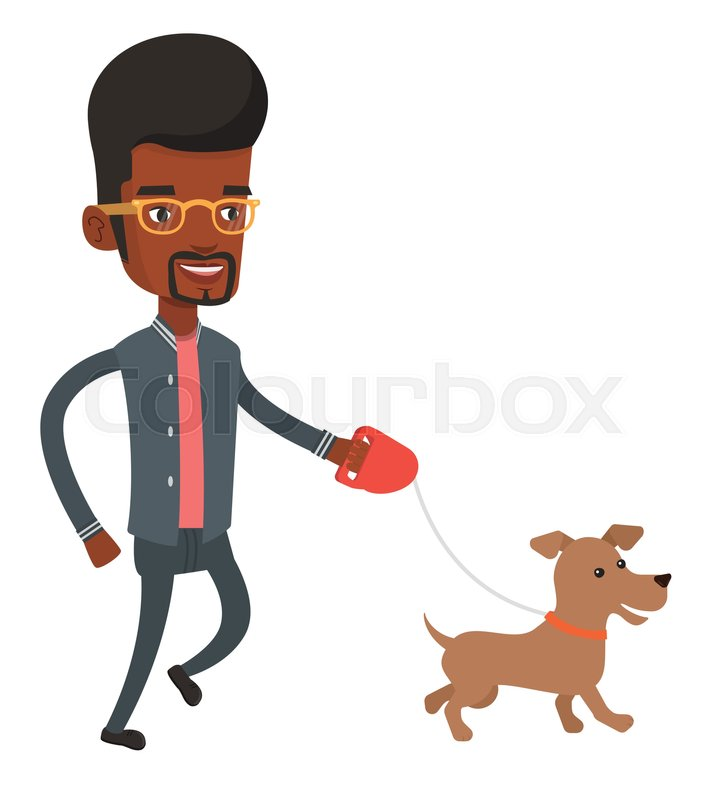 722x800 African American Young Man With His Pet. Happy Man Taking Dog