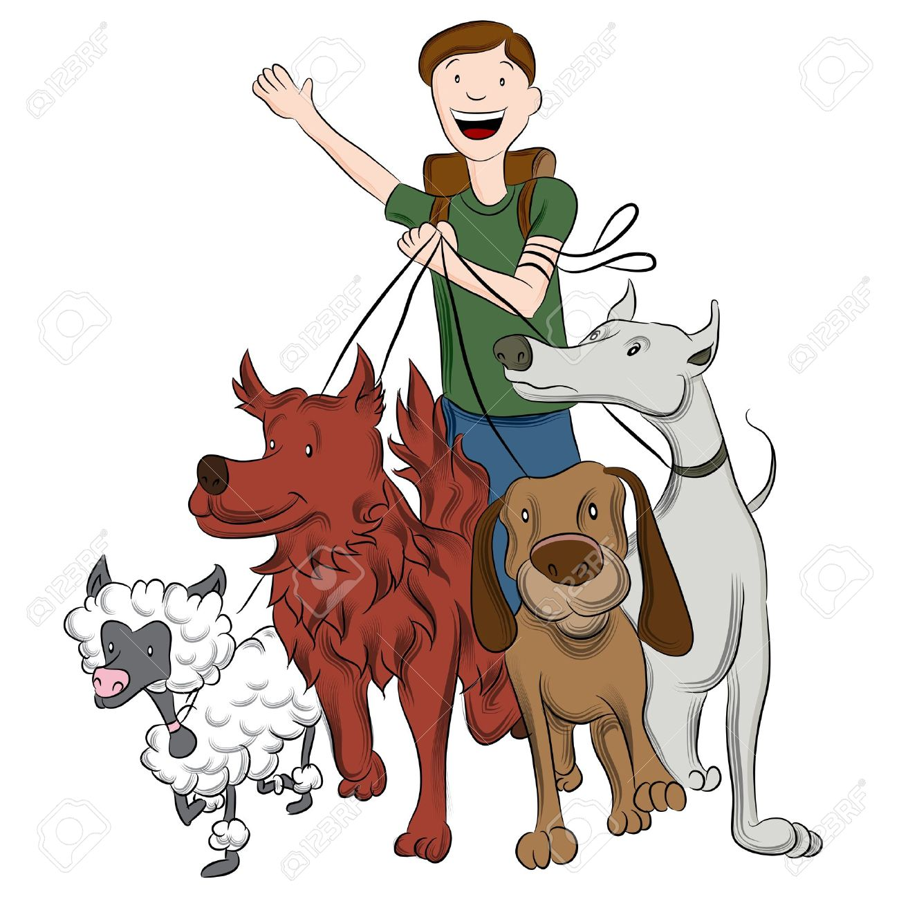 1300x1300 An Image Of A Man Walking Dogs. Royalty Free Cliparts, Vectors