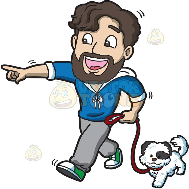 638x640 An Excited Man Walking His Dog Cartoon Clipart