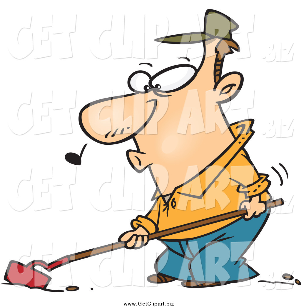 1024x1044 Clip Art Of A Cartoon Farmer Whistling And Cultivating By Toonaday