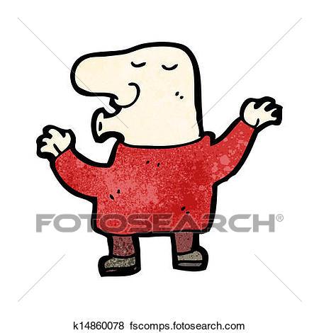 450x470 Clip Art Of Cartoon Bald Man Whistling K14860078