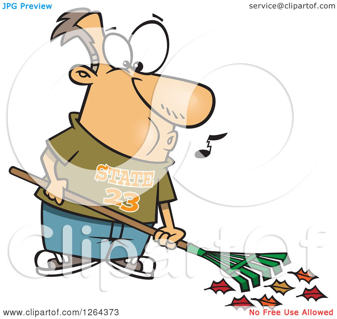 1080x1024 Clipart Of A Cartoon Happy Caucasian Man Whistling And Raking