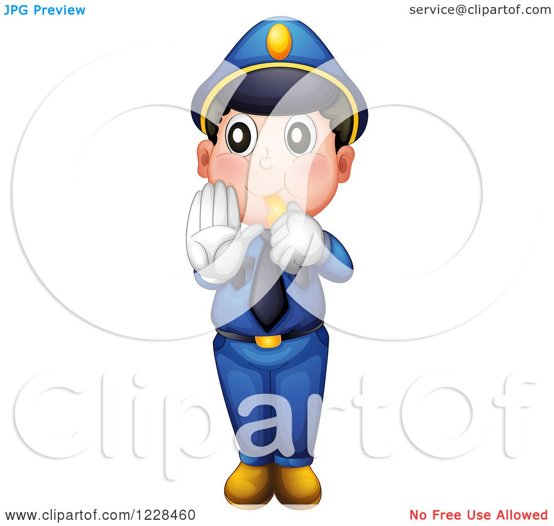 1080x1024 Clipart Of A Police Man Whistling And Holding A Hand Out