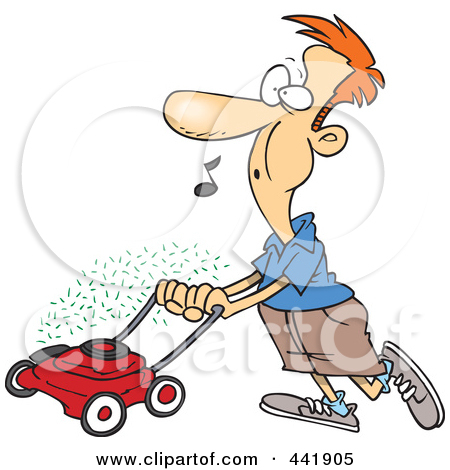 450x470 Lawn Man Weed Eating Clipart