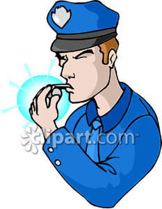 233x300 Police Officer Blowing A Whistle Royalty Free Clipart Picture