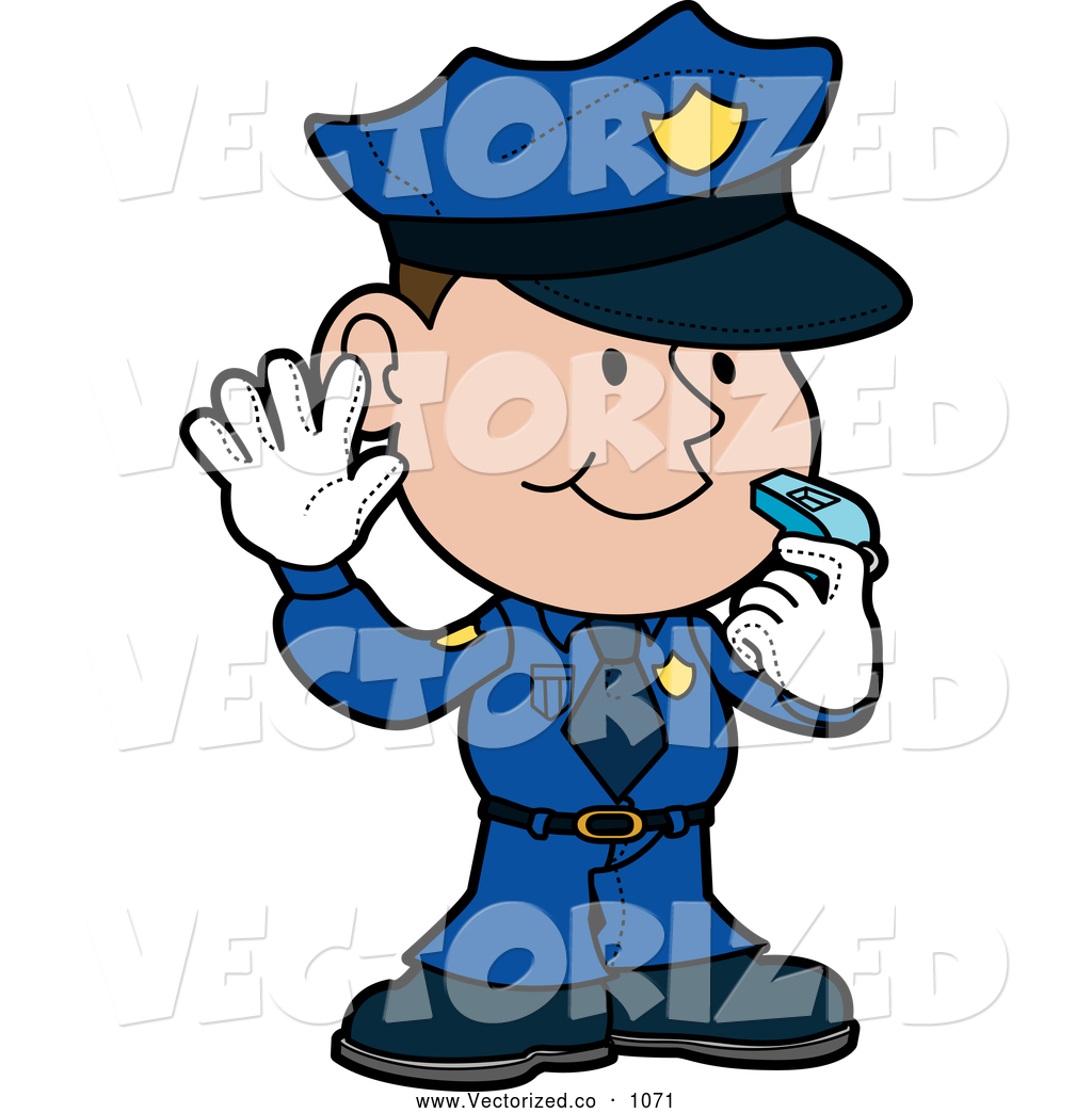 1024x1044 Royalty Free Clipart Of Friendly Male Police Officer Cop In