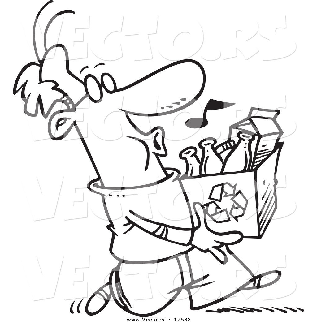 1024x1044 Vector Of A Cartoon Whistling Man Carrying A Carton To A Recycle