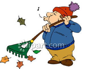 300x242 Whistling While Raking Leaves Royalty Free Clipart Picture