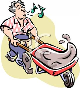 274x300 Cartoon Of A Man Pushing A Wheelbarrow And Whistling
