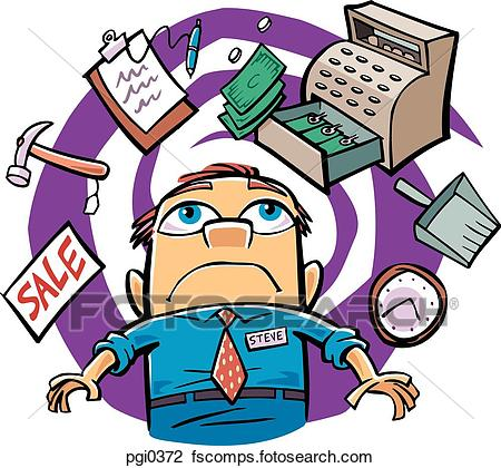 450x420 Clip Art Of Drawing Of A Busy Store Manager Pgi0372