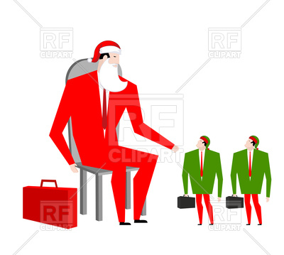 400x359 Santa Boss And Manager Elves, Office Christmas Royalty Free Vector