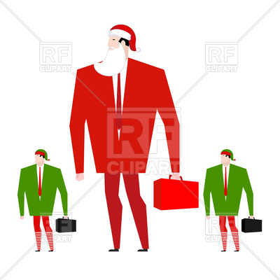 400x400 Santa Boss And Managers Elfes Royalty Free Vector Clip Art Image