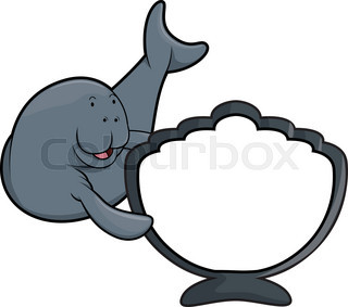 320x283 Cute Cartoon Manatee. Vector Illustration With Simple Gradients