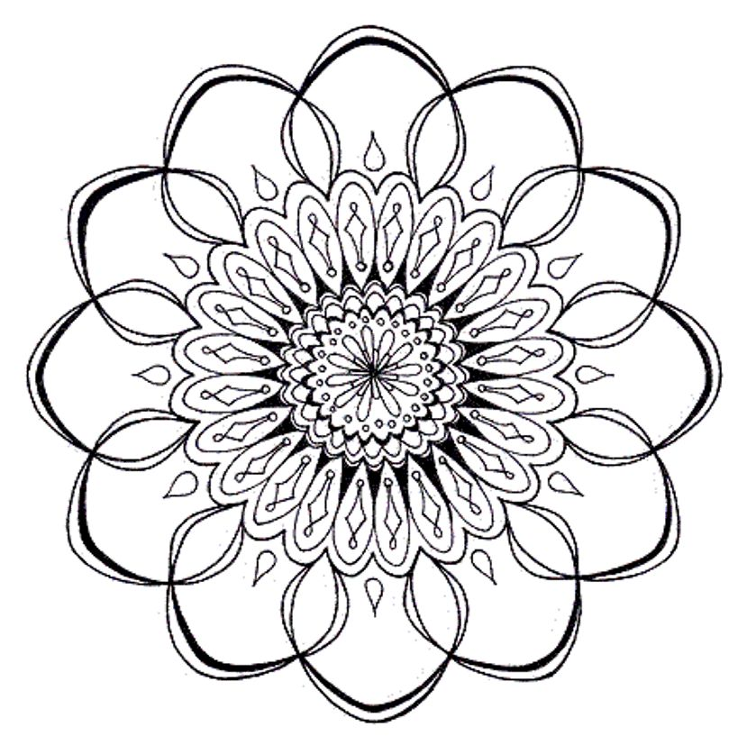 839x837 Lotus Flower Mandala Coloring Pages