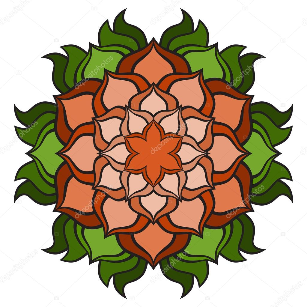 1024x1024 Beautiful Vector Orange, Green Mandala Flower. Ornamental Round